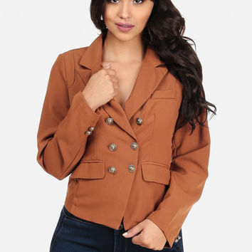 CASUAL BROWN DOUBLE-BREASTED BLAZER JACKET