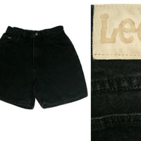 Vintage Lee Shorts~Size Small~Waist 26~70s 80s 90s High Waisted Black Jean Denim Shorts~By Lee