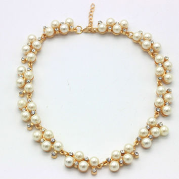 Pearl and Crystal Link Necklace