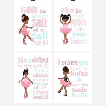 African American Ballerina Christian Nursery Decor Set of 4 Prints with Bible Verses
