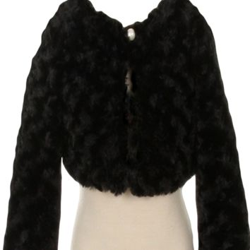 Black Fur Cropped Length Jacket with Pearl Button Closure & Satin Lining (Girls 2T to Size 12)