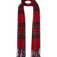 Red Tartan Check Oversized Scarf