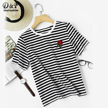 Dotfashion Striped Tee Embroidered Rose Casual T-Shirts Women Floral Patch Summer Tops 2017 Fashion O Neck Brief Cotton T-Shirt