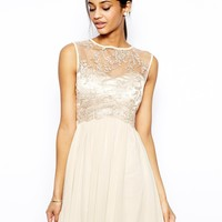 Little Mistress Skater Dress with Vintage Lace Bodice - Cream