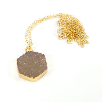 Druzy Necklace, Hexagon Necklace, Geometric, Natural, Stone, Champagne, Tan, Nude, Sparkle, Glitter, Gold, Boho, Gemstone, Dainty, Delicate