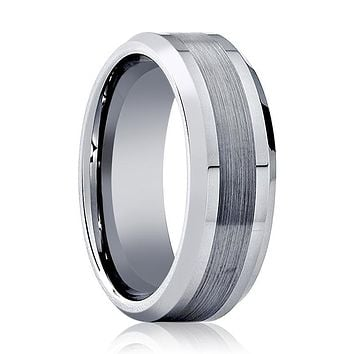Aydins Mens Tungsten Wedding Band Brushed Center 6mm 8mm Tungsten Carbide Ring