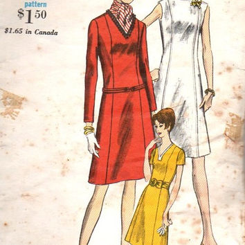 Vogue 1960s Sewing Pattern 6810 Semi Fitted A-line Dress High V Neck Basic Business Cocktail Dress Bust 36