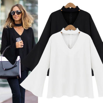 V-Neck Bat Sleeve Chiffon Shirt Long Sleeve Blouse with Neck Choker for Women Gift-96