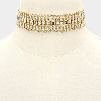 "12"" gold crystal metal choker collar necklace bridal prom 1"" wide"