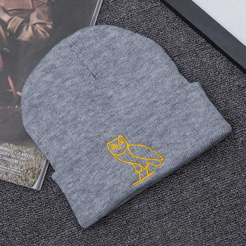 Men Women Couple Caps Winter Warm Hats Drake OVO Gold Owl Embroidery Knitted Skullies Beanies Grey Casual Knitted Beanie