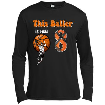 8th Birthday Basketball T-Shirt Funny 8 Years Old Gift Long Sleeve Moisture Absorbing Shirt
