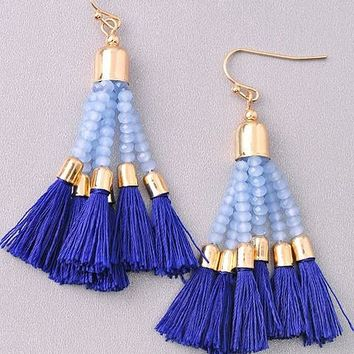 Flaunt it Hot Blue Tassel Earrings