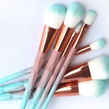 Unicorn diamond Makeup 7pcs Brushes Set, 4 fresh Macarons color Facial Foundation Maquillaje Cosmetic Makeup Brush Kit