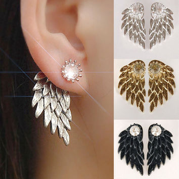 1Pair Gothic Women Cool Jewelry Angel Wings Rhinestone Alloy Drop Stud Earrings