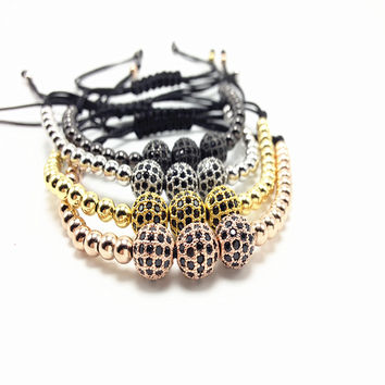 1pcs Nine forever  Fashion jewelry Men's Bracelet  8mm Gold Micro Pave Setting Black CZ  Trendy  Braiding Macrame men Bracelets