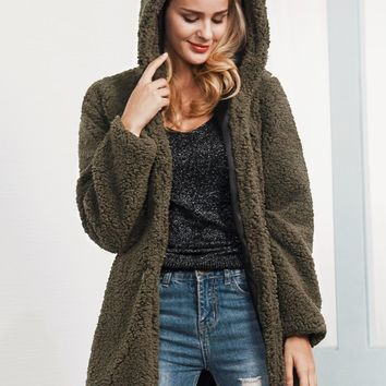 Army Green Faux Shearling Hooded Coat