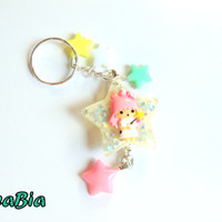 Little twin stars lala Anime keychain - pastel yellow star kawaii bag charm - cute key ring - Fairy kei - sweet lolita - pastel goth
