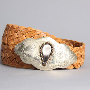 80s MOROCCAN Leather BELT / Etched Silver & Horn Buckle Braided Leather