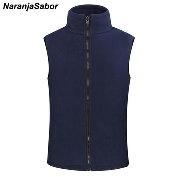 NaranjaSabor Men's Women's Softshell Fleece Vest Warm Waistcoat Casual Sleeveless Jackets Male Coats Men Brand Clothing