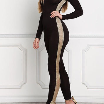 Gold and Black Side Mesh Leotard Jumpsuit