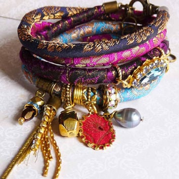 fuchsia with navy blue color wrap india silk brocade bracelet