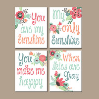 You Are My Sunshine Wall Art Girl Artwork Baby Girl Nursery Rhyme Quote Baby Song Set of 4 Flower Wall Art