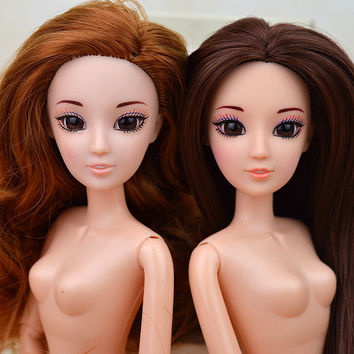 New 3D Supersize Eyes Nude Naked doll Toy /12 Joint Moveable /Long Stright Curly Hair White Skin For Barbie Doll Xmas Gift