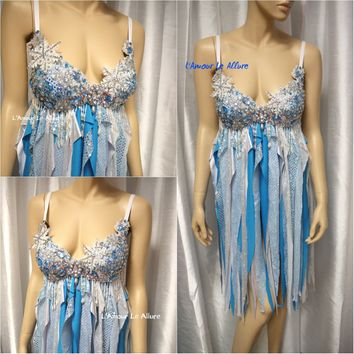 Elsa Babydoll Dress Cosplay Dance Costume Rave Bra Rave Wear Halloween Burlesque