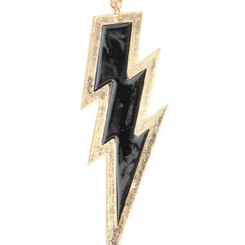 Lightning Bolt Necklace Retro Zap Flash Storm Black Gold Tone NJ35 Retro Pop Pendant Fashion Jewelry