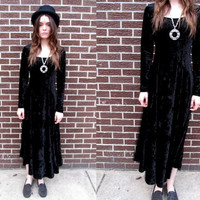 70's VELVET Black Goth Witchy Stretchy Long Sleeved Maxi Dress