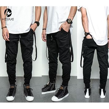 Hip Hop Fashion Men's Pants Justin Bieber Harem with Zippers Drop Crotch Pants Mens Joggers Black