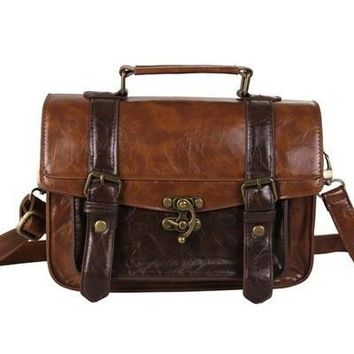 Day-First™ Ecosusi Women Vintage Messenger Bag Leather Satchel Briefcase Handbag = 1932263684