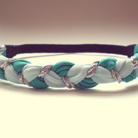 Light Blue Teal and Silver Braided Headband Hippie Headband  Womens Hair Accessories Bohemian