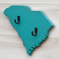 South Carolina or any US state shape wood cutout sign home organizer wall art with key hooks. College Dorm Country Office Decor. 24 colors