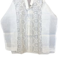 Mogul Interior Womens Shirt Tunic Ivory Floral Hand Embroidered Elegant Indian Top Blouse Cover Up M/L