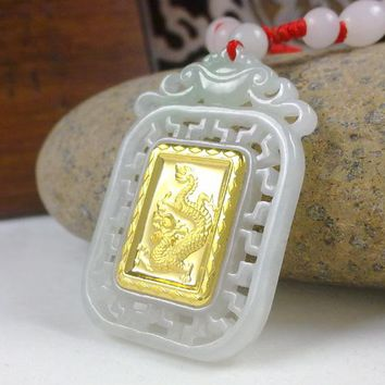 Gold Jade Dragon Pendant