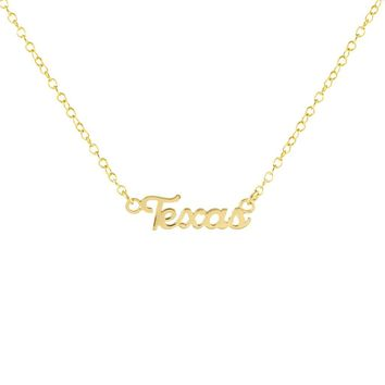 "Kris Nations Necklace - Gold ""Texas"" Script"