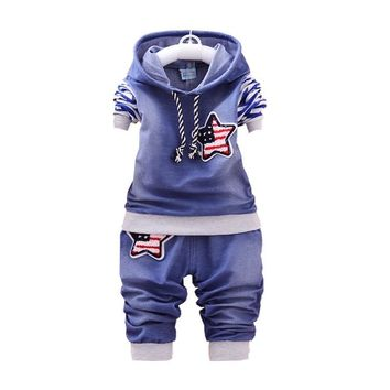 Trendy Spring Autumn Children Boy Girl Cotton Clothes Kids Denim Striped Hoodies Pants 2Pcs/Sets Fashion Baby Embroidery Star Tracksuit AT_94_13