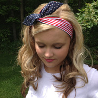God Bless America Wired Headband in Stars and Stripes Reversible Print Trend Headwrap