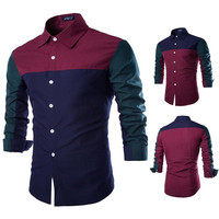 Tricolor Block Men's Slim Fit Shirt