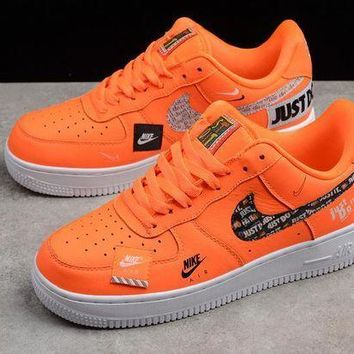PEAP2Q nike air force one just do it orange men women sneaker 905345 800