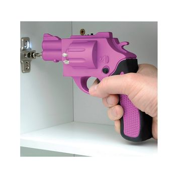 Pink Revolver Shaped Screwdriver Rechargeable With Drill Bits