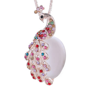 New Arrival Gift Jewelry Stylish Shiny Peacock Gemstone Multi-color Diamonds Accessory Necklace [6049396801]