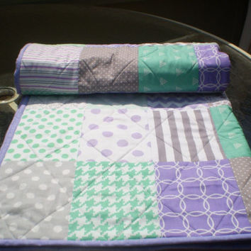 Baby Quilt, Mint, Grey, Purple, patchwork Crib Quilt, Handmade Baby Girl Quilt, Crib Bedding, Chevron Quilt, lavender, toddler, Mint n Lilac