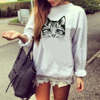 Printed long-sleeved autumn round collar sweater women