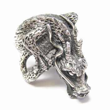 Asian Dragon Ring Size 10 Sterling Silver Vintage