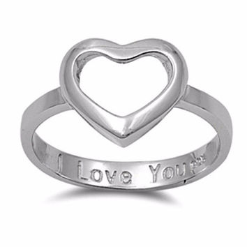 Open Heart Engraved I Love You Ladies ring size 4-10 in .925 Sterling Silver