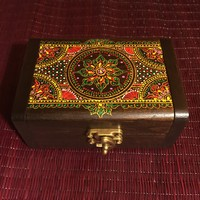 Mandala Jewelry Keepsake Box - Teak Wood - Handcrafted Thailand