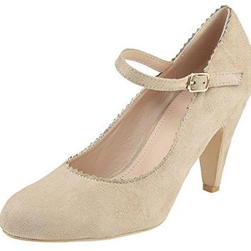 Bella Marie Womens Mary Jane Ankle Strappy Scalloped Mid Heel Dress Pump