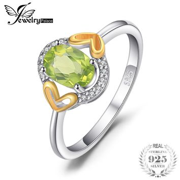 JewelryPalace Luxury 1.3ct Genuine Gemstone Peridot Ring Heart Two Colors 925 Sterling Silver Fine Jewelry For Women Gift Trendy